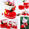 NEW Xmas Santa Boots Socks Candy For Kids Flocking Christmas Decor Gift Bag