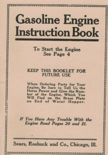 Gasoline Engine Instruction Book Gas Engine Motor Manual Spark Plug Flywheel