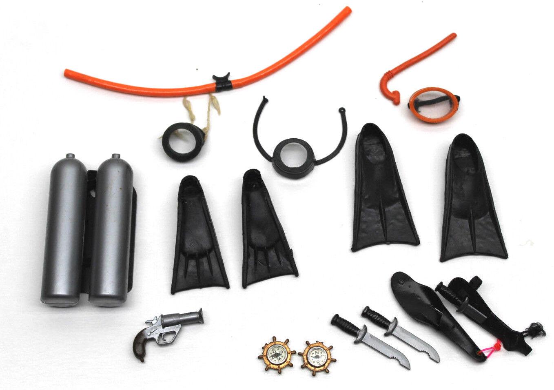 Super 1-owner 60er gi joe 12  scuba diver flossen + + + + kompass maske tank messer + +