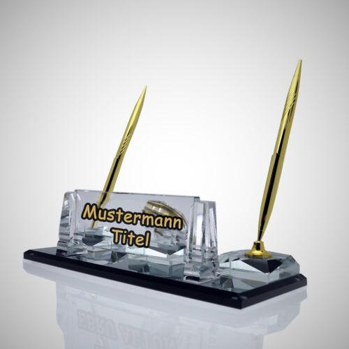 Tischaufsteller Lera individuelle Namensschild mit Wunschname /& Logo aus Glas