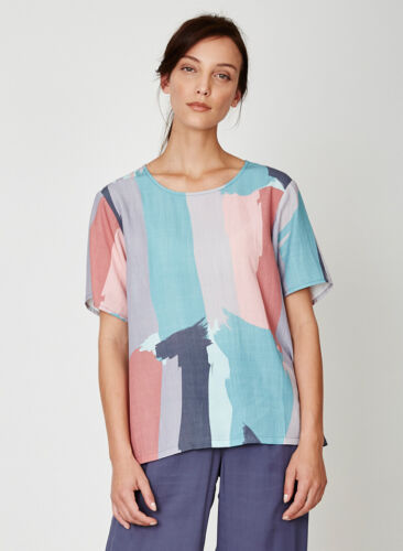 Multi Cotton Organic Back Top Patterned Sleeve Thought Plain Pintura Boxy Short TOq5xf