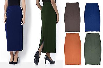 Womens Long Pencil Skirt Black PonteRoma Jersey Ladies Plus Size