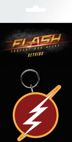 DC COMICS THE FLASH LOGO RUBBER KEYRING NEW OFFICIAL MERCH