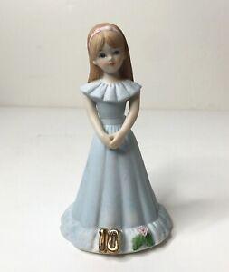 Enesco 1982 Birthday Growing Up Girls Age 10 Brunette Porcelain Figurine