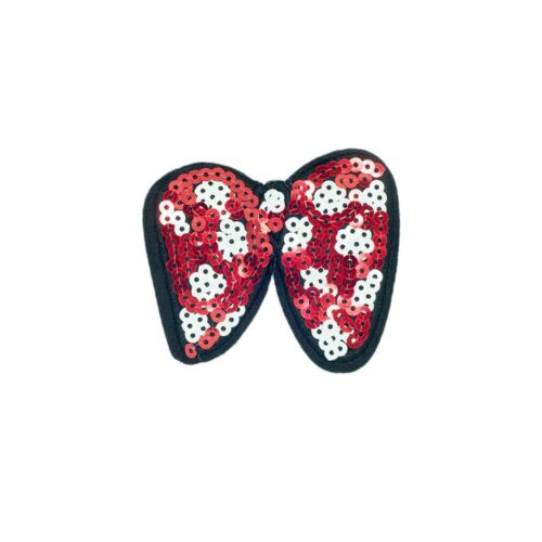 Sequin Red White Bow Embroidery Applique Patch Sew Iron Badge Sew On