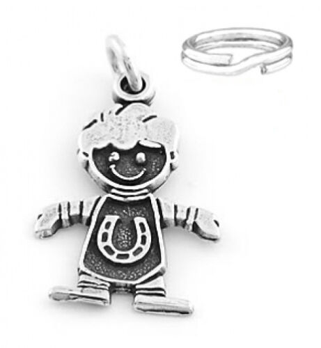 """SILVER /""""BOY WITH HORSESHOE/"""" SOLID CHARM W//SPLIT RING"""