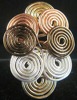 cocktail ring  size 1 - 15 1/2  gold silver bronze copper wire wrap  USA #442