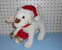 White Dog Stuffed Animal In Santa Hat - Holding Stocking In Mouth