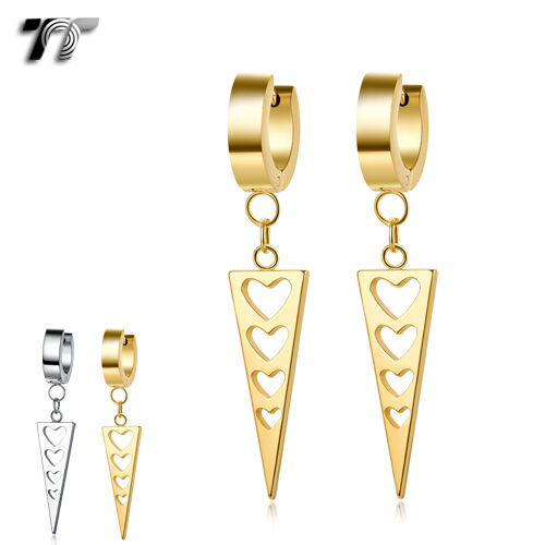 EH119 Details about  /Quality TT Stainless Steel Hoop Dangle Heart Earrings NEW