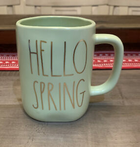 Rae Dunn By Magenta - LL HELLO SPRING - Green Ceramic Coffee Mug - 🐣Spring