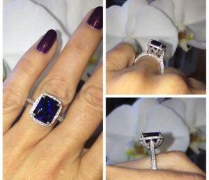 4Ct-Emerald-Cut-Blue-Sapphire-Diamond-Halo-Engagement-Ring-14K-White-Gold-Finish