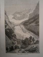 gravure Glacier de Grindelwald Suisse