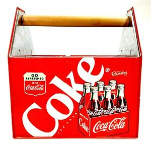 Red-Coca-Cola-Galvanized-Metal-Divided-Utensil-Caddy-Coke-Bottle-Carrier