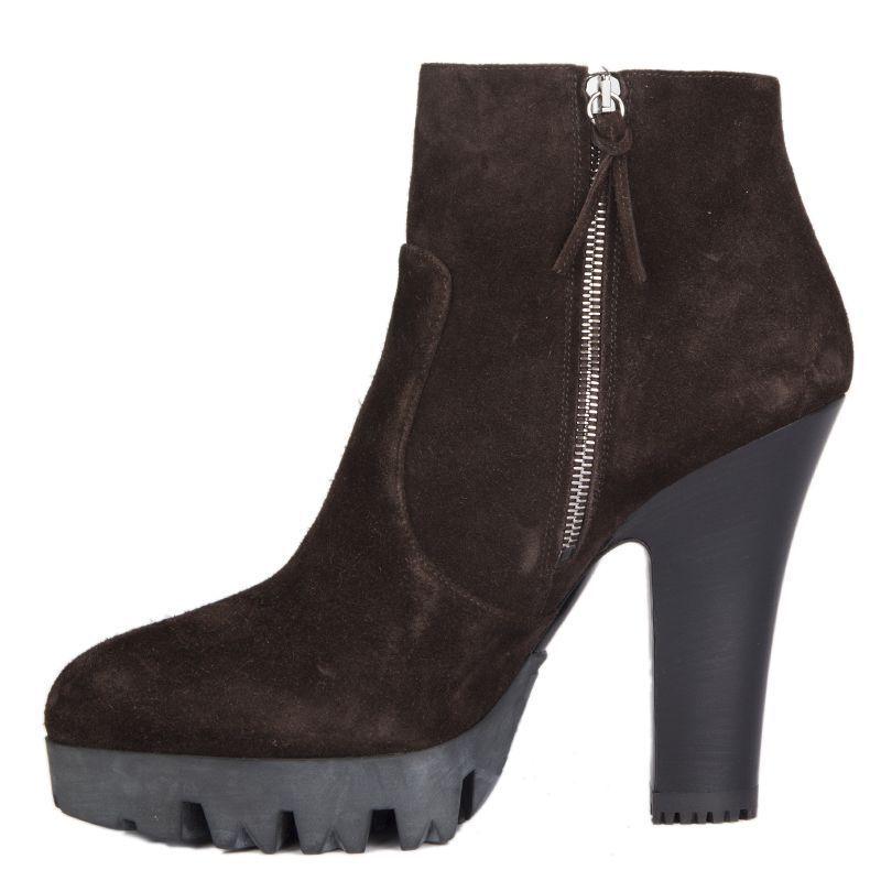 54432 auth MIU MIU dark braun braun braun suede leather Platform Ankle Stiefel schuhe 40 aedad7