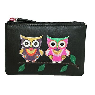 Mala Leather coin purse  Style 413545 Owl Applique on front colour  Various RFID