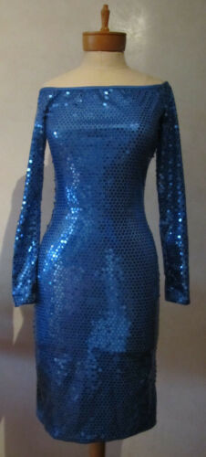 Patrick Kelly Vintage Blue Sequin Dress Size 10 US