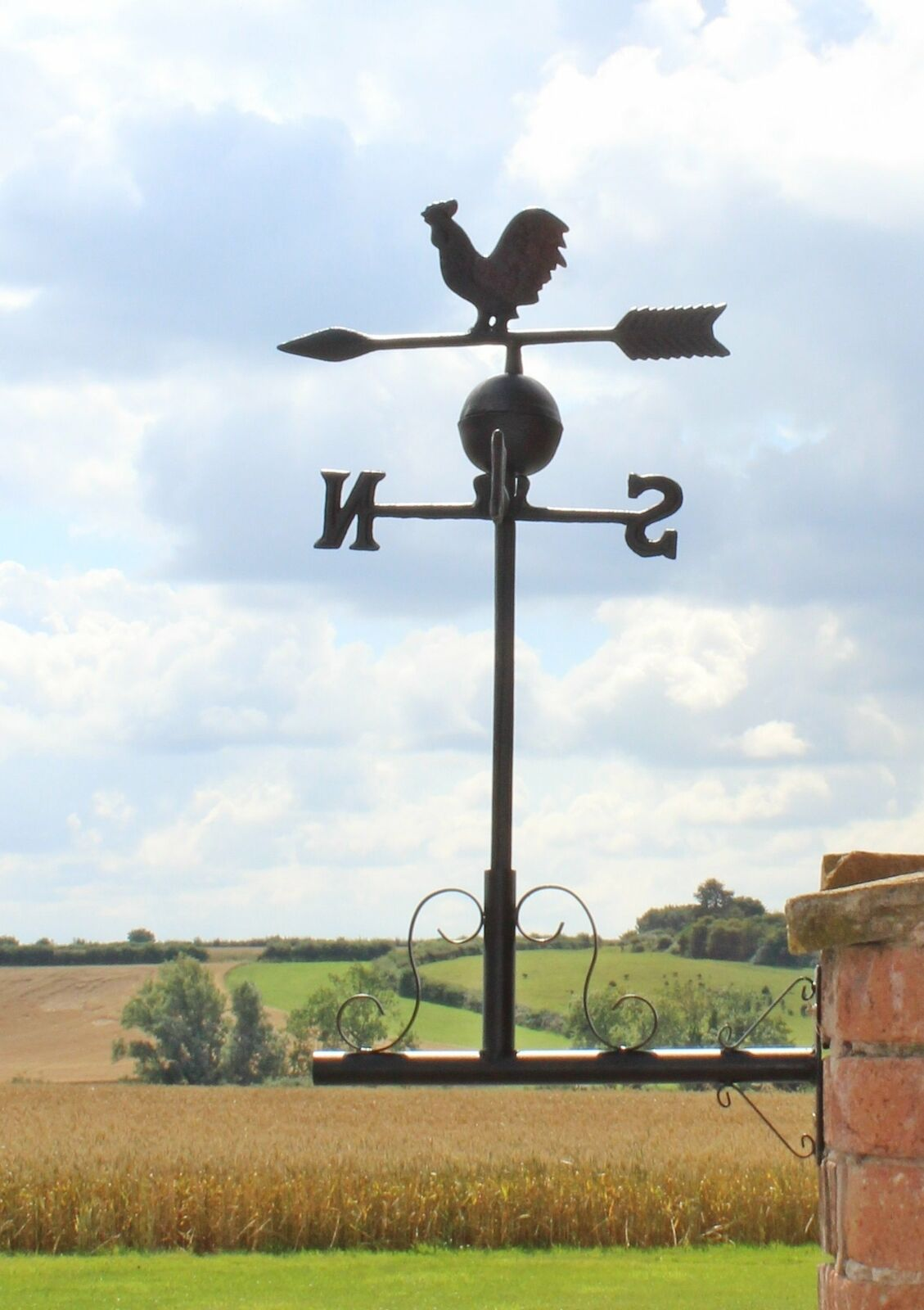 Rooster Chicken Design Cast Iron Large Black Mountable Weathervane