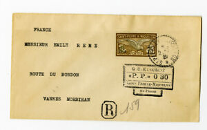 St Pierre Cover 1926 Registered w/ Stamps and back stamped