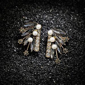 Boucles d`Oreilles Clous Puces Art Déco Doré Gris Amerindien Retro Vintage AA 10