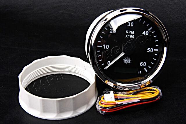 Osculati Tachometer Hourmeter Gauge 96mm 6000 RPM Glossy Black