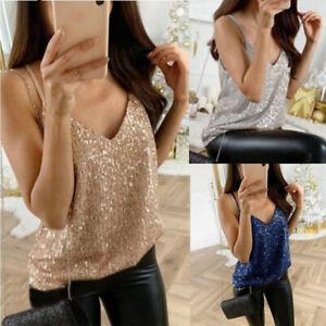 Women-Lady-Sexy-Tank-Top-Cami-Glitter-Sequins-Vest-Shirt-Spaghetti-Strap-Blouses