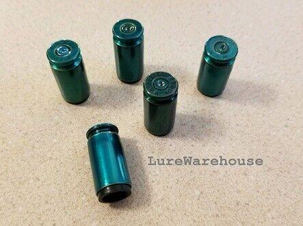 Bullet Tire Valve Caps  5 .40 SW Caps New Semi-Transparent Green Powder Coated!