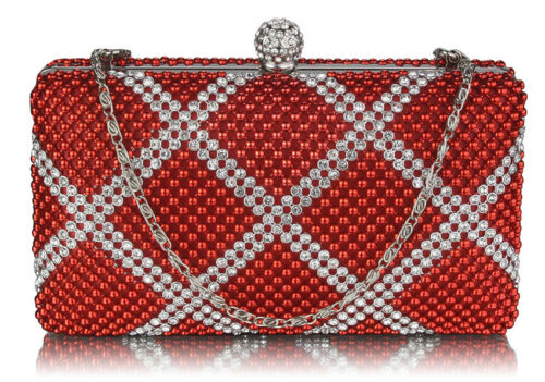 Beaded Box Clutch Bag Women Party Evening Handbag Prom Gift Designer Pearl Purse