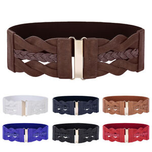 Details about New Women Elastic Buckle Stretch Waistband Wide Waist Belt Fashion Style