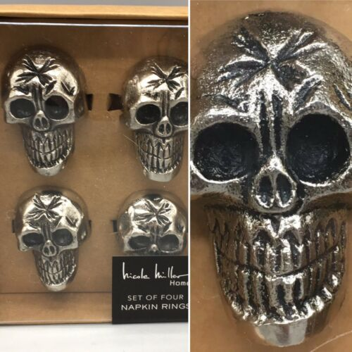 x4 Nicole Miller Halloween Antiqued Silver Metal Skull Napkin Ring Set Gothic