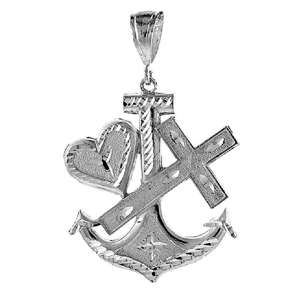 13.2 Grammi argentoo Sterling Marinaio`S Ancora W  Croce Croce Croce & Cuore Grande Ciondolo bba579