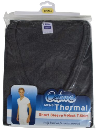 Octave ® Da Uomo Thermal Giubbotto Manica Corta Caldo Biancheria Intima V-Neck T-Shirt Top