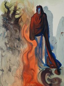 Dali Salvador: Hölle 34 - Holz Graviert Original #1960-1963 ,La Göttliche