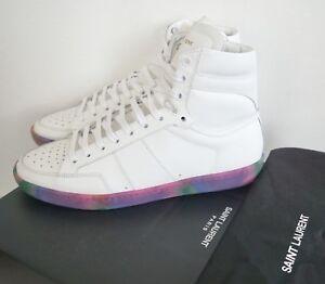 436ba882 Details about SAINT LAURENT SL/10H Off-White Leather High-Top Sneakers  Shoes EU-41 US-8
