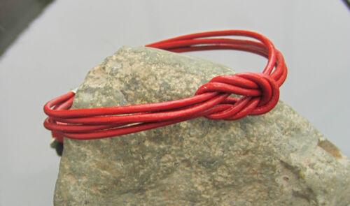 Red Cable De Cuero Genuino Pulsera con Broche De Plata 925 termina Cubo Coral Cadena