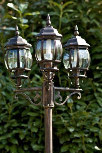 Lampada da esterno Lampione da giardino 3 lanterne Nero Classico Metallo 37232