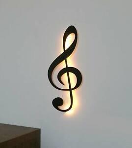 Dekoration-Note-Musik-Holz-Wanddeko-Wandschmuck-Notenschluessel-Led-Licht-60-cm