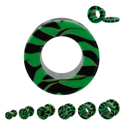 PAIR-Zebra Stripe Green Acrylic Screw On Ear Tunnels 10mm//00 Gauge Body Jewelry