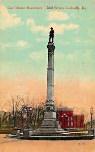 LOUISVILLE-KY-CONFEDERATE-CIVIL-WAR-MONUMENT-THIRD-STREET-1910s-POSTCARD