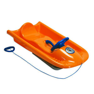 KHW Snow Flyer de Luxe Rodel Bob Schlitten mit Bremse orange belastbar bis 85 kg