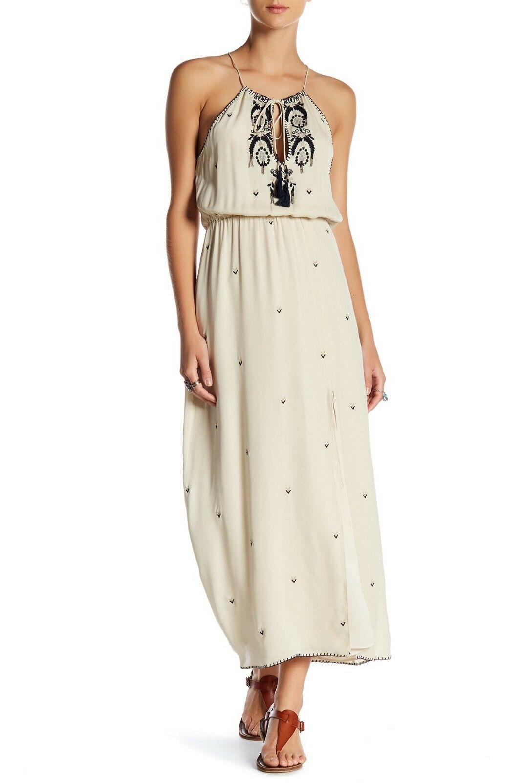 HAUTE HIPPIE Antique Antique Antique Talitha Embroidered Beaded Blouson Silk Crepe Maxi Dress S 24708a