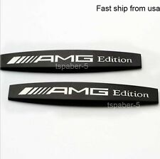 2Pcs New Metal Black AMG Emblem fender badge Car Body Side Skirts Sticker