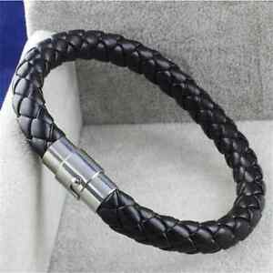 Vintage-Unisex-Men-Women-Leather-Genuine-Braided-Steel-Magnetic-Clasp-Bracelet
