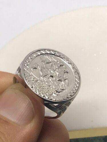 925 plata esterlina genuino sólido anillo de Imitación St George medio soberano Nuevo