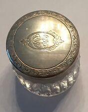 ANTIQUE ART DECO STERLING & CRYSTAL ROUGE JAR