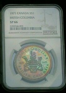 1971-CANADA-BRITISH-COLUMBIA-SILVER-DOLLAR-NGC-SP66-RAINBOW-COLOR-TONED-UNC-DR
