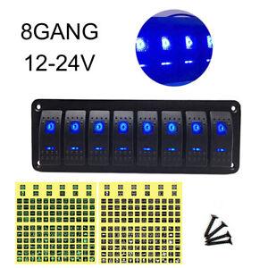 WonVon Car Marine Boat 8-Gang Waterproof Circuit Blue LED Rocker Switch Panel Breaker Waterproof