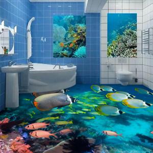 3D Cute Pink Fishs 52 Floor WallPaper Murals Wall Print 5D AJ WALLPAPER UK Lemon