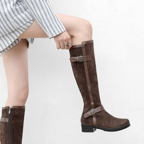 Ladies Buckle Strap Side Zip Riding Motorcycle Knee High Boots Casual New Shoes