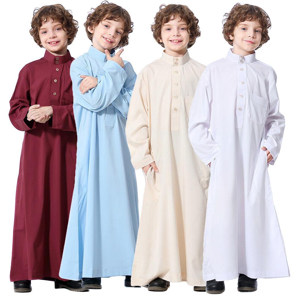 Fashion Muslim Dresses for Children Jubba Thobe Boy's Kaftan Abaya Arabian Robe