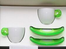 2 GUZZINI ESPRESSO White Porcelain Cups w/Green Acrylic Handle & Saucers Italy